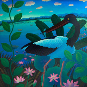 Jabiru with Waterlillies