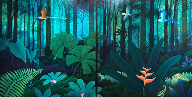 """Rainforest with Kingfisher"" and ""Rainforest with Rosellas"""