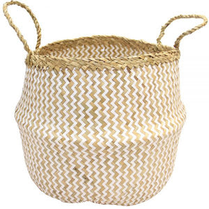 Belly Basket White Weave Seagrass