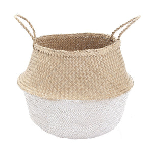 Belly Basket White Dipped Natural Seagrass
