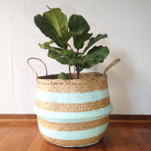Seagrass Basket Aqua Stripe Natural Seagrass