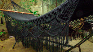Byron Black Hammock with Wooden Bars