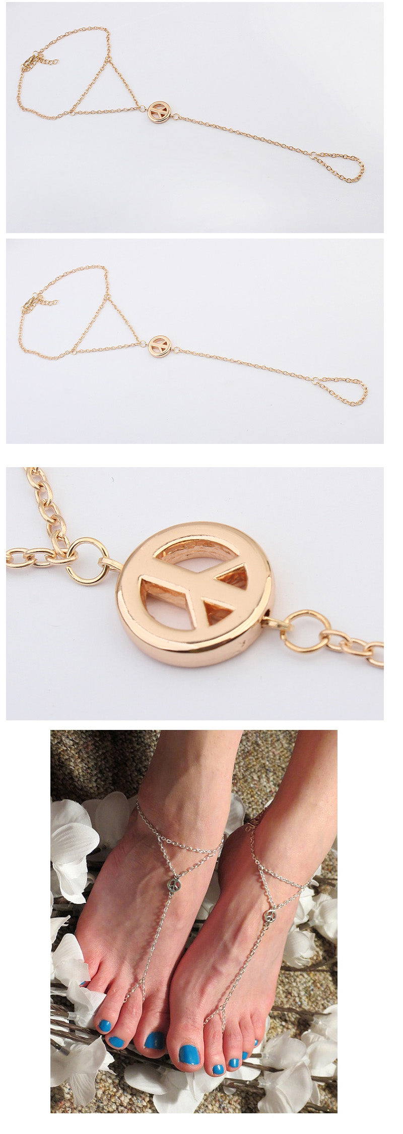 Peace Sign Chain Anklet