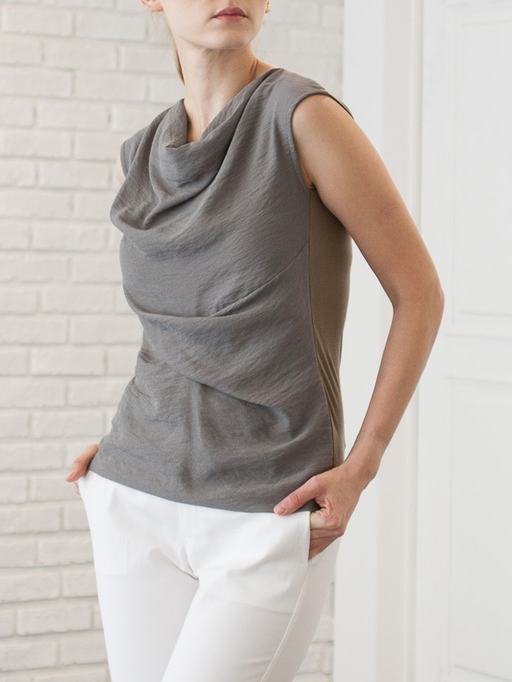 Draped Sleeveless Blouse - CYCOORDI