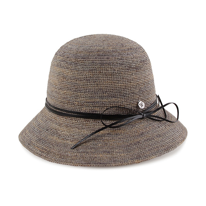 India Cloche Cowhide Ribbon Premium Raffia Hat Gray 2 Colors - CYCOORDI