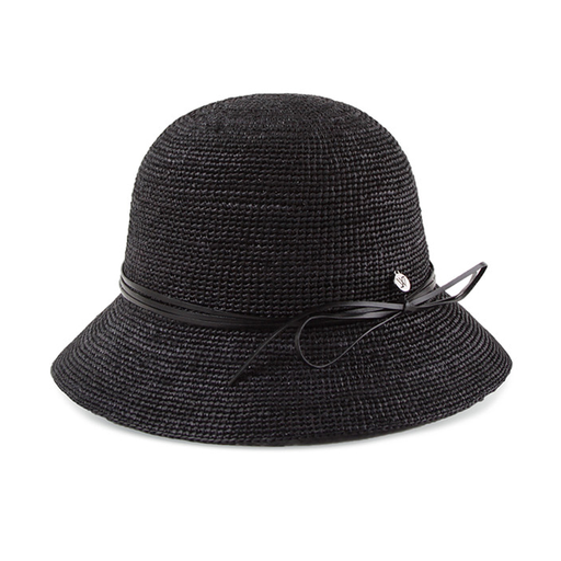 India Cloche Cowhide Ribbon Raffia Hat Black Edition - CYCOORDI