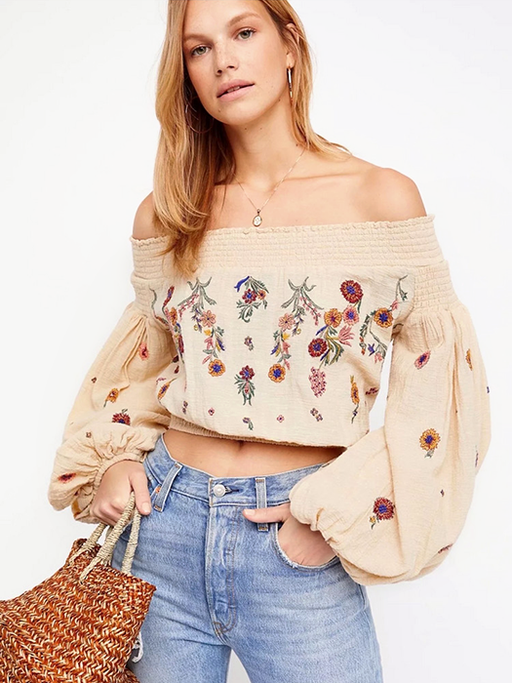 Off Shoulder Embroidered Blouse - CYCOORDI