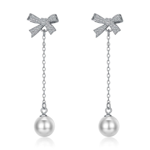 Bow Charm Silver Earrings - CYCOORDI