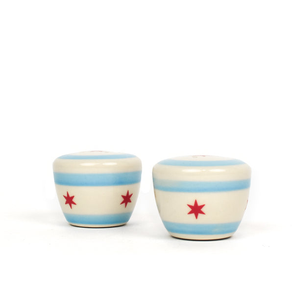 Chicago Flag Handmade Ceramic Salt & Pepper Shaker Set