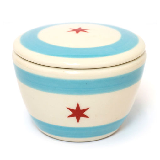 Chicago Flag Handmade Ceramic Small Lidded Bowl 2