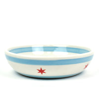 "Chicago Flag Handmade Ceramic 8"" Low Bowl"