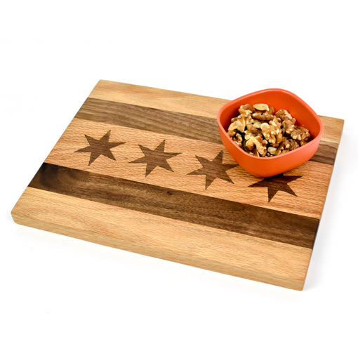 Chicago Flag Wood Serving Board