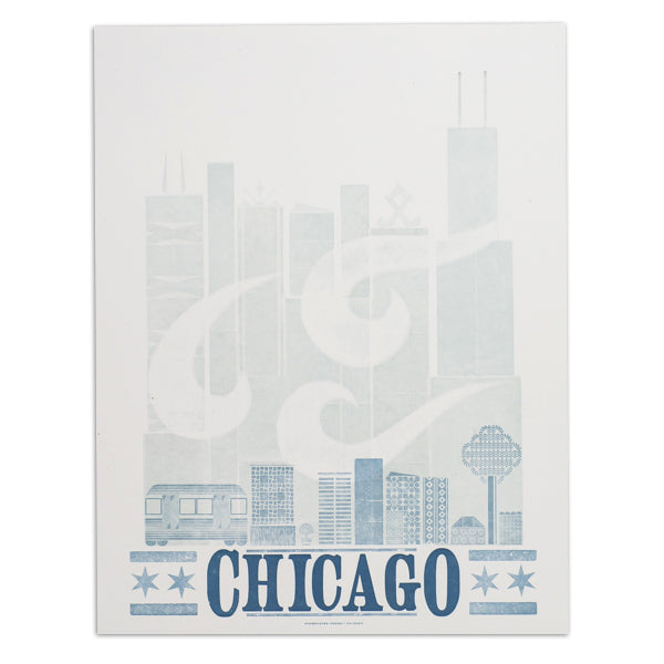 "Chicago Skyline Windy City 14"" x 18"" Letterpress Print"