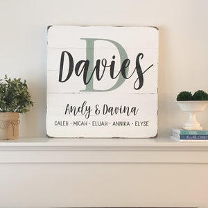 Large Square Family Name Sign