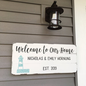 Lighthouse Family Name Sign