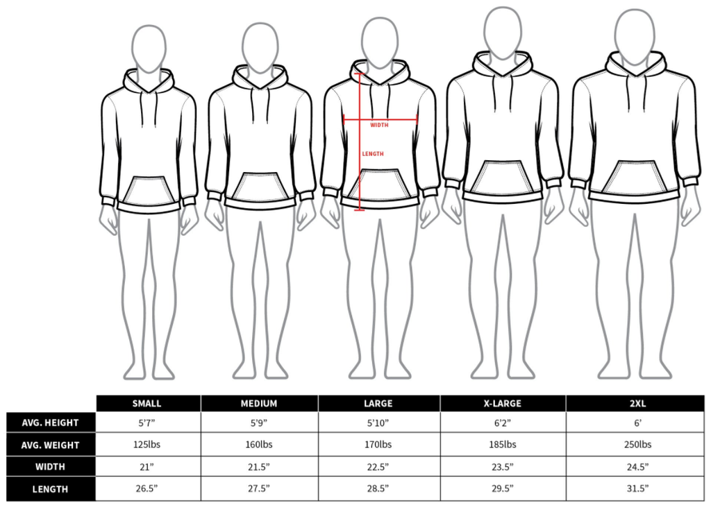 Hooded Sweatshirt Size Guide or Size Chart
