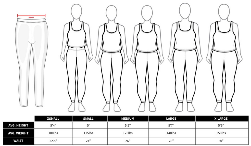 Women's Legging Size Guide or Size Chart