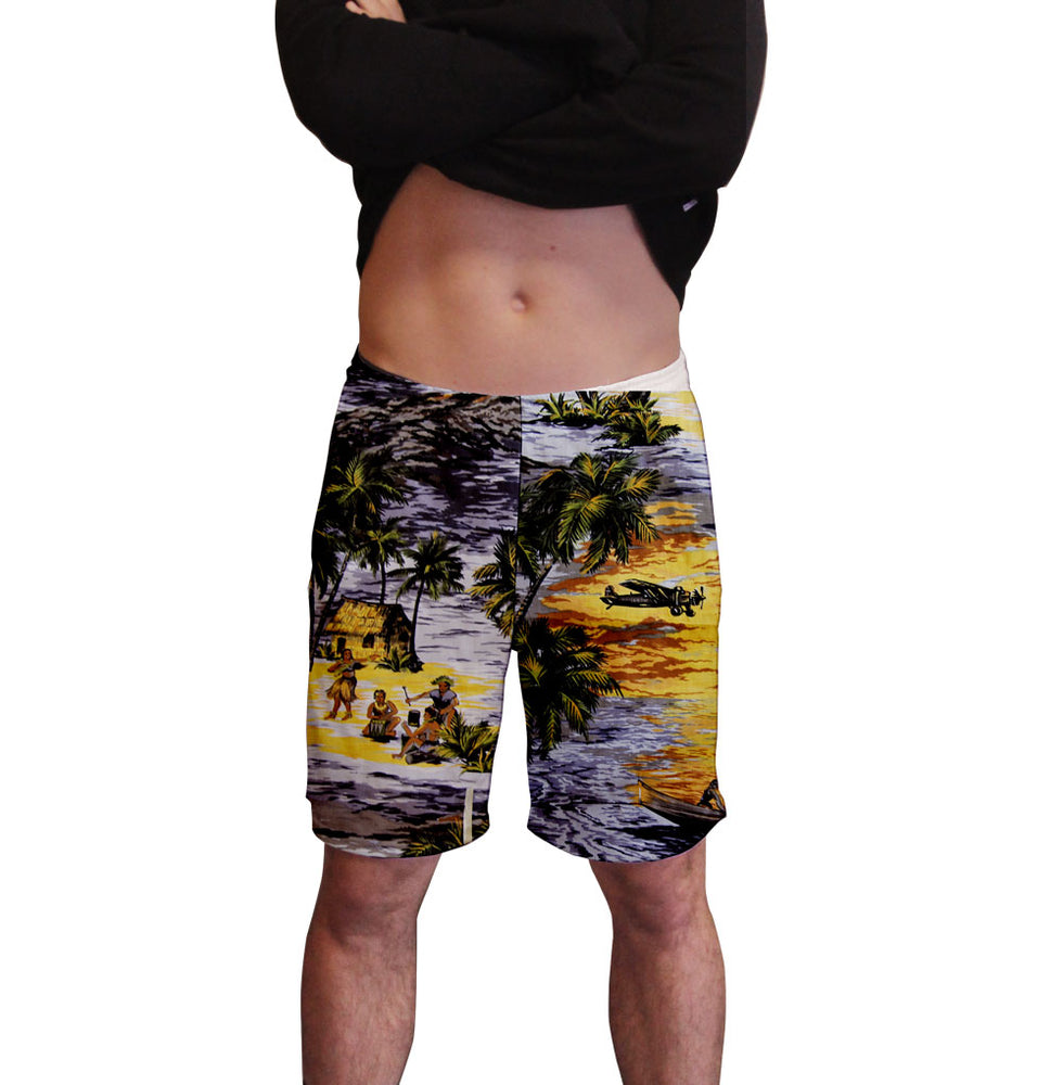 Hawaiian Life Print Men's Active Short  Deep Pockets Fitted Activewear Moisture Wicking Polyester Fabric All Over Print Graphic