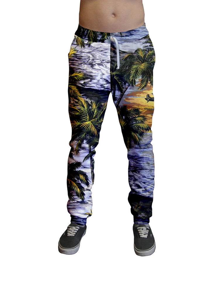 Hawaiian Life Printed Jogger.  Moisture Wicking Tapered Leg Pockets Soft Fleece Fabric