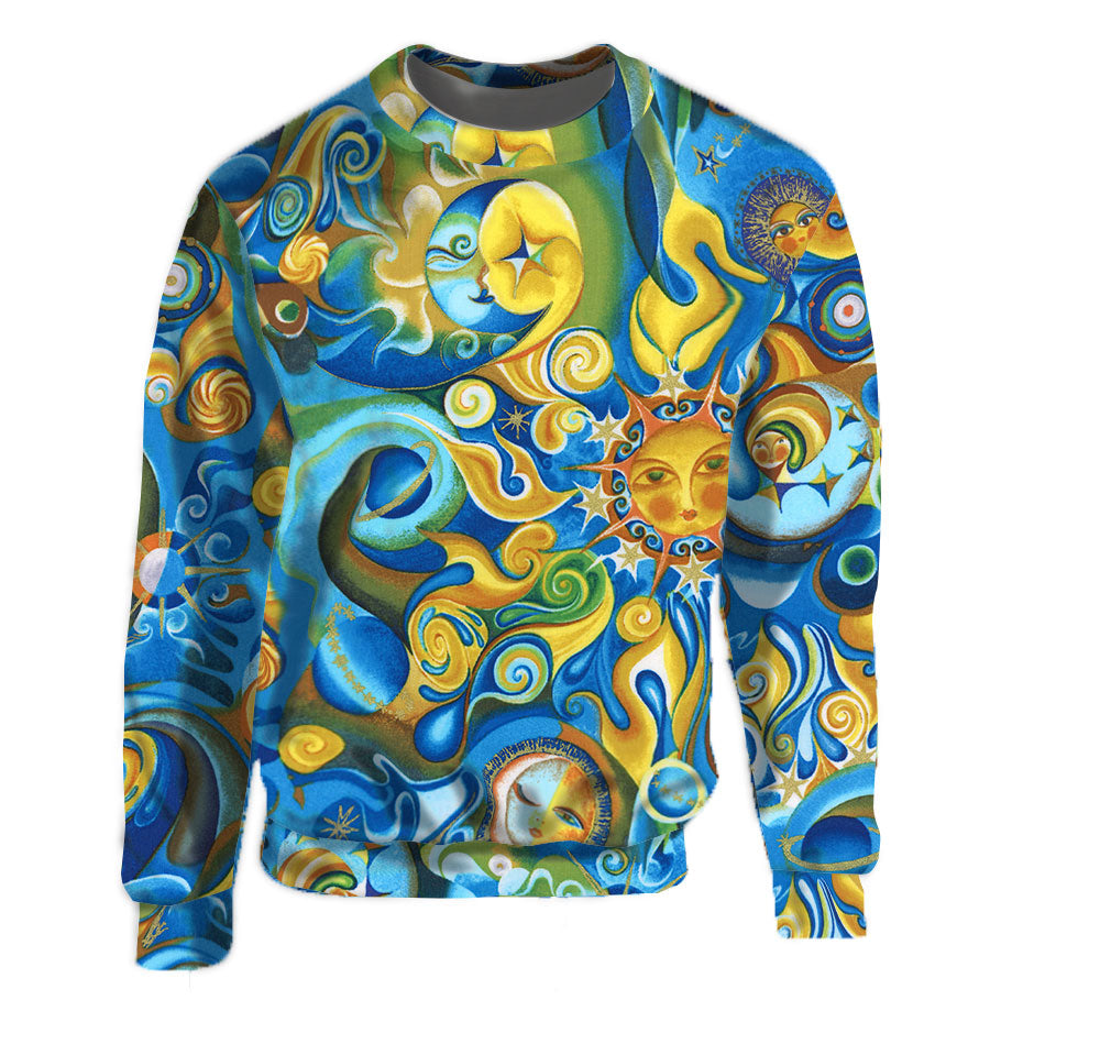 Blue and Gold Aquarius Crew Neck Sweater has a beautiful wild pattern with soft warm feel.