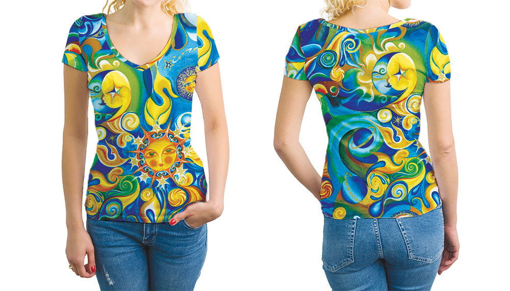 Vibrant Blue and Gold All Over Print Cotton V-Neck T-Shirt
