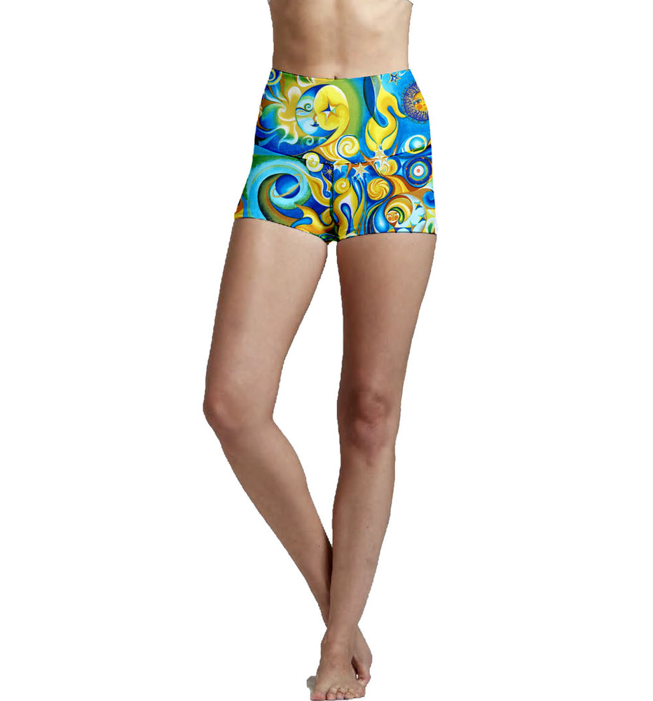 High Waist Yoga Shorts made from environmentally friendly recycled plastic bottle fabric.
