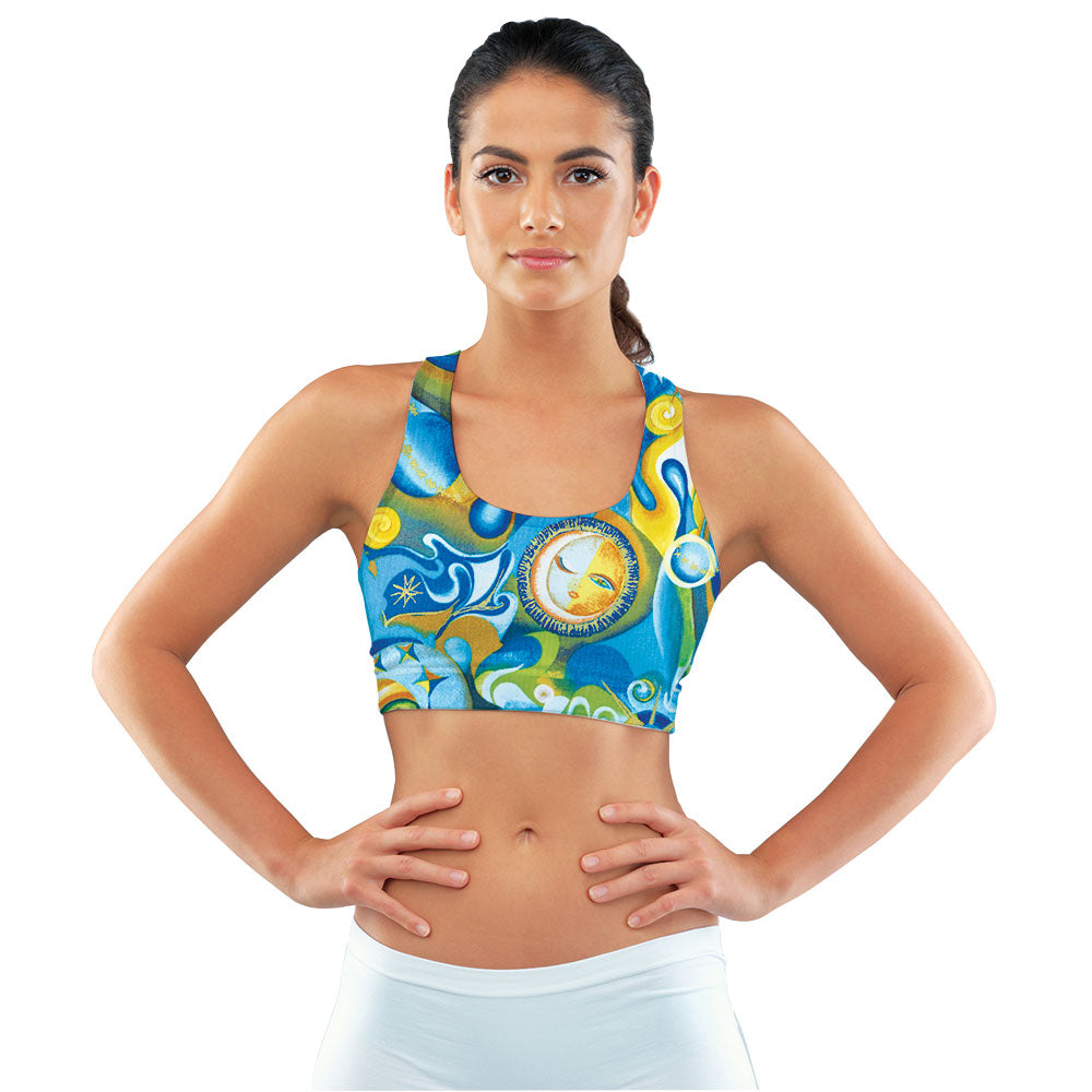 Aquarius Blue & Gold Racerback Sports Bra