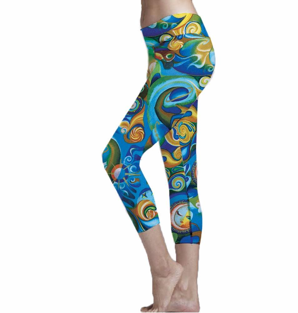 Aquarius Blue and Gold Cropped Leggings