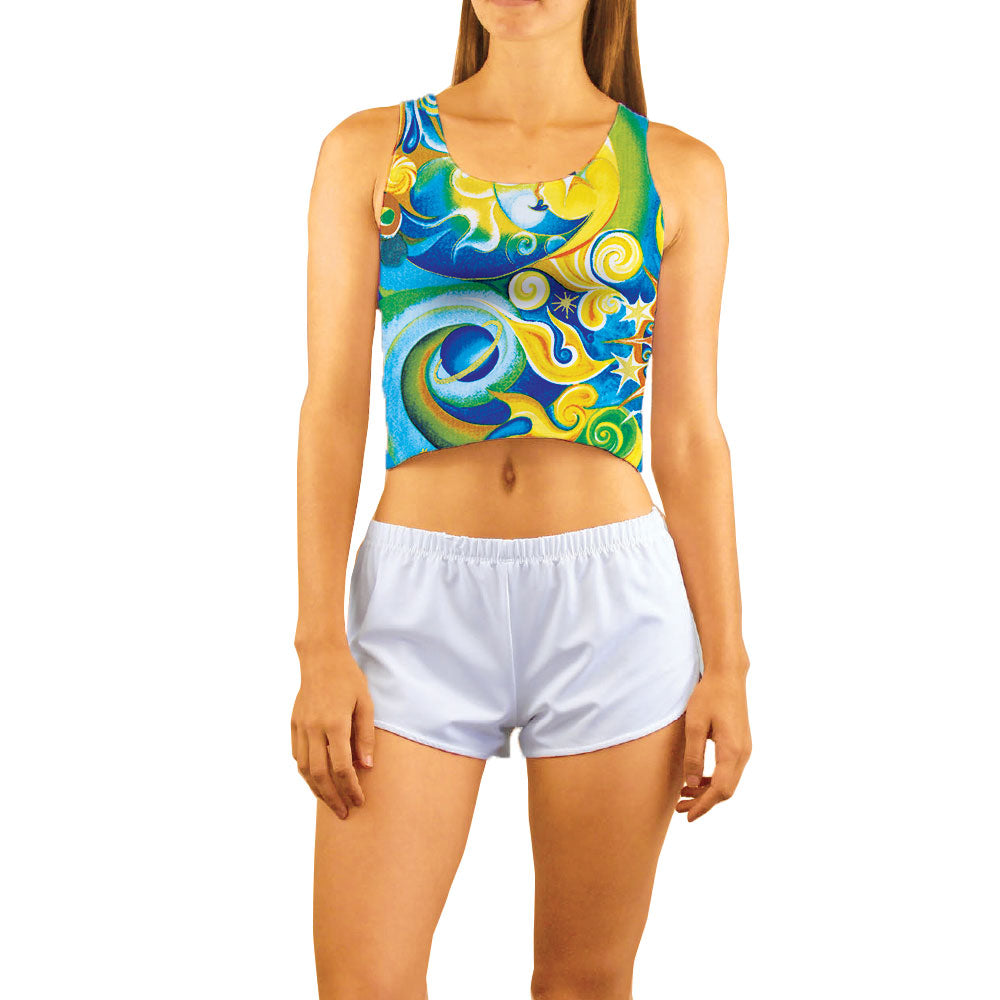 Aquarius Blue & Gold Women's Crop Tank Top great for leisurewear or over a sports bra during a yoga, pilates or spin class.