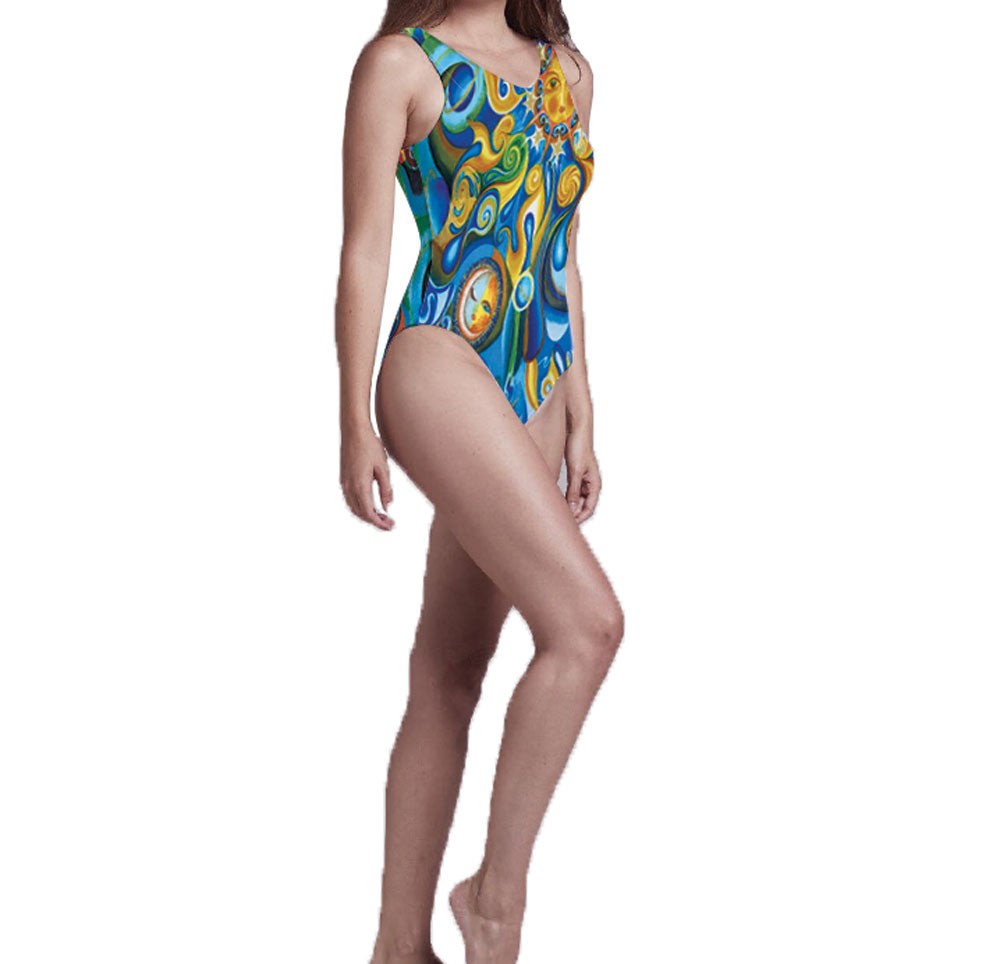 Aquarius Blue & Gold One Piece Women's Swimsuit