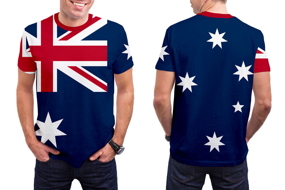 Australia Men's T-Shirt. Show your Olympic Pride in the Nostalgic Prints Nations Collection.  Styled to Please Supima Cotton Fabric Pre-Shrunk Fabric Machine Wash and Dry Made in the USA