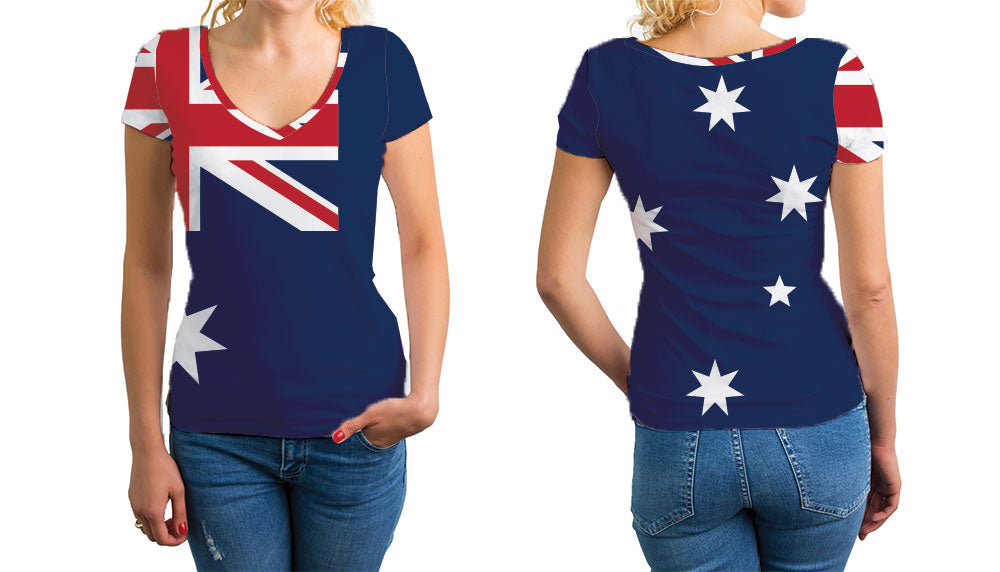 Austria Women's V-Neck T-Shirt. Show your Olympic Pride in the Nostalgic Prints Nations Collection.  Relaxed Fit V-Neck T-Shirt Styled to Please Supima Cotton Fabric Pre-Shrunk Fabric