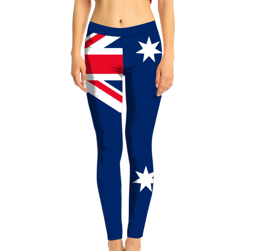 Australia Full Length Leggings. Show your Olympic Pride in the Nostalgic Prints Nations Collection. Made with fabric milled from recycled plastic bottles.  Super Soft Ultra Light Eco-Fabric Sustainable Activewear Ultra flattering wide waistband