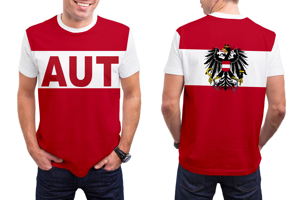 Austria Men's T-Shirt. Show your Olympic Pride in the Nostalgic Prints Nations Collection.  Styled to Please Supima Cotton Fabric Pre-Shrunk Fabric Machine Wash and Dry
