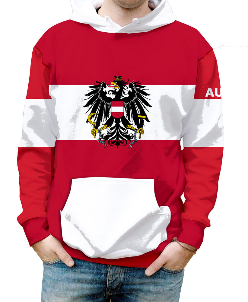Austria Hooded Sweatshirt. Show your Olympic Pride in the Nostalgic Prints Nations Collection.  Warm & Soft 100% Premium Microfiber Polyester HD All-Over Graphic Print Pre-Shrunk Fabric