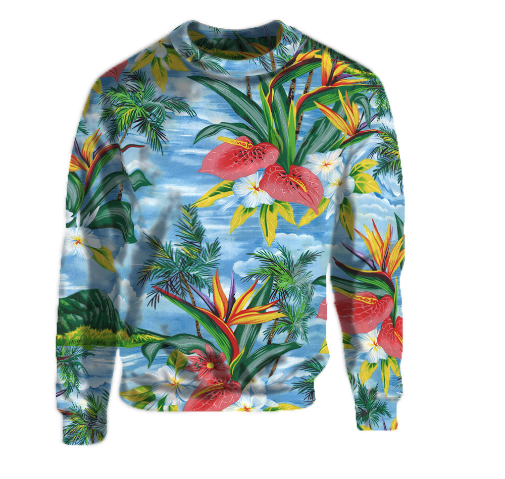 Light Blue Floral Print Crew Neck Sweatshirt. Flashy Hawaiian Print warm sweatshirt