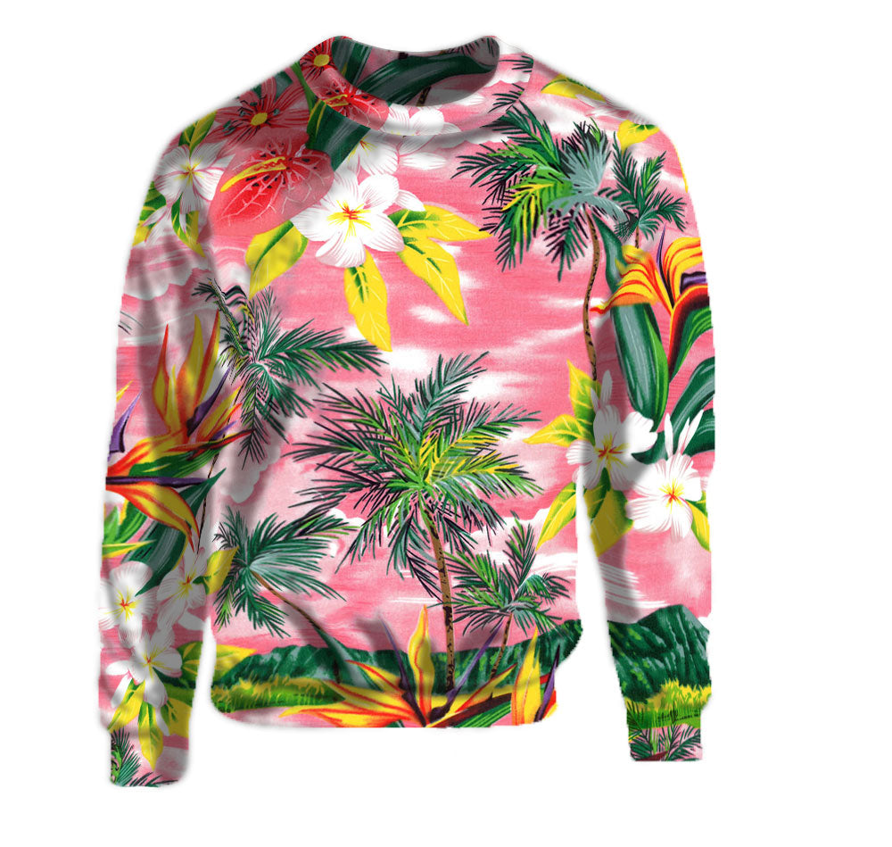 Pink Sunset Floral Print Crew Neck Sweatshirt made with the highest quality materials.