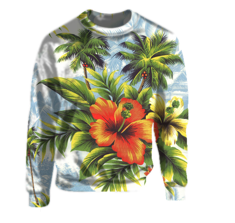 Crew Neck Sweatshirt with huge beautiful Hibiscus Hawaiian Print