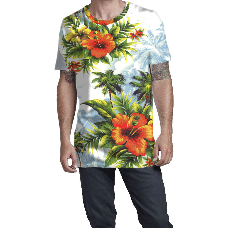 Hawaiian Print T-Shirts brought to you by Nostalgic Prints. An all over print Hawaiian T-Shirt.