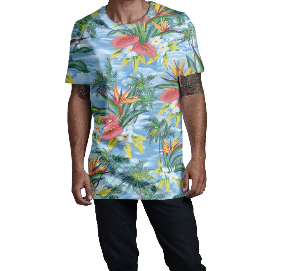 Hawaiian Print Blue T-Shirt with beautiful floral pattern.