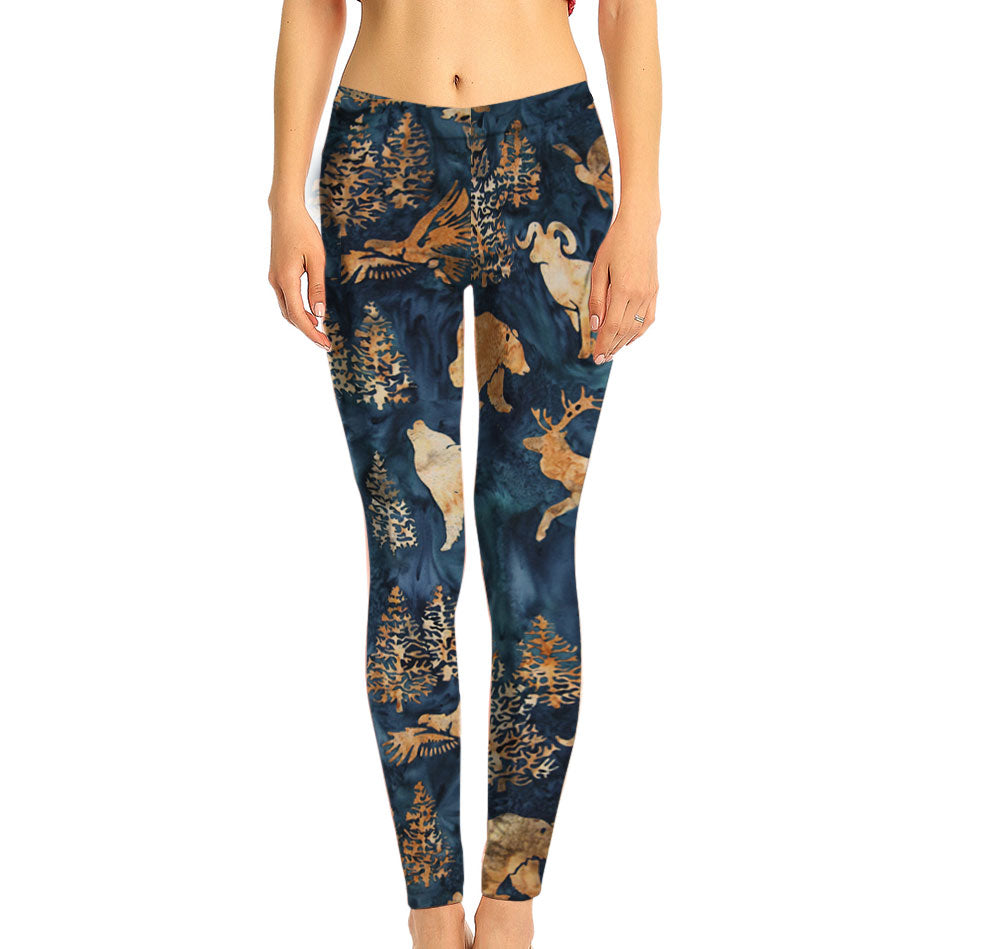 Batik Woodland Mid-Rise Leggings, made with fabric milled from recycled plastic bottles.