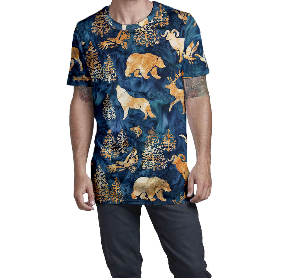 Batik Woodland Nostalgic Print Men's T-Shirt  Elongated Slender Length Styled to Please Supima Cotton Fabric
