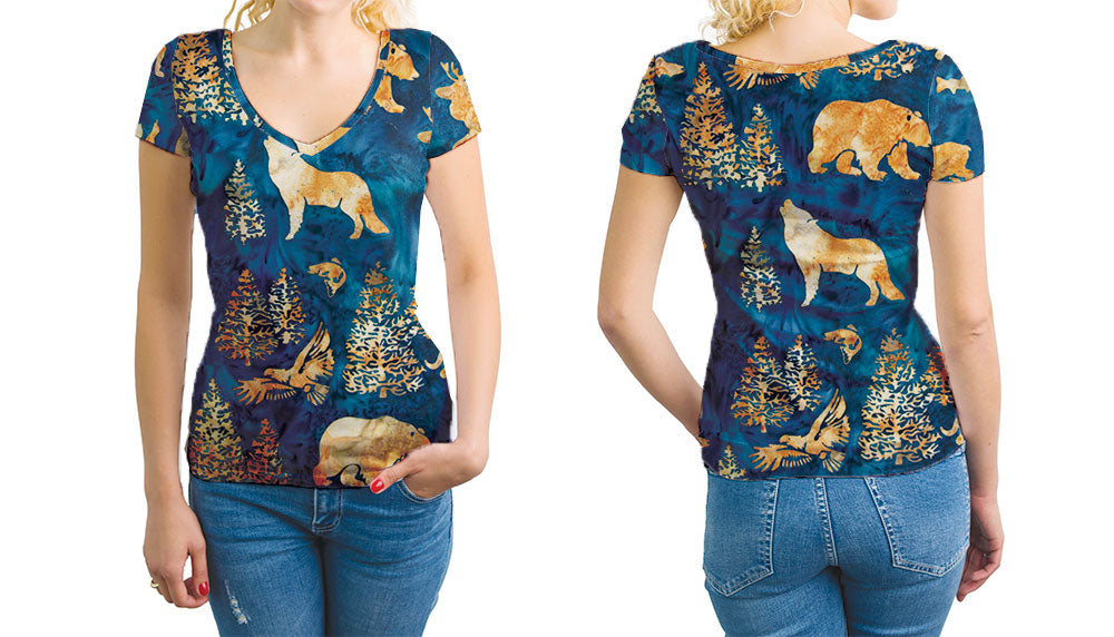 Batik Woodland Women's V-Neck T-Shirt. Be Bold - Be Vibrant.  Relaxed Fit V-Neck T-Shirt Styled to Please Supima Cotton Fabric