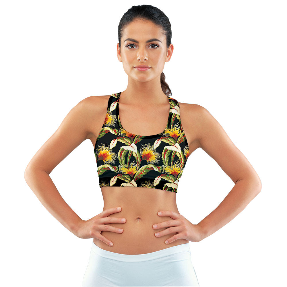 Black Linen Floral Print Racerback Sports Bra made with our sustainable Ultra Soft Eco-Fabric from recycled plastic. Engineered for the active lifestyle with a smooth cool feel.