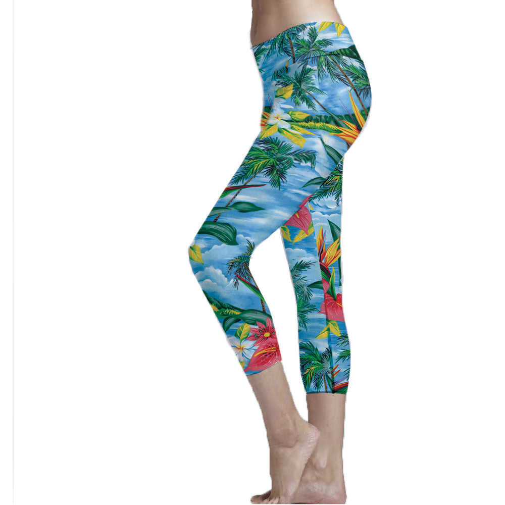 Hawaiian Print Cropped Legging made fabric from recycled plastic bottles.