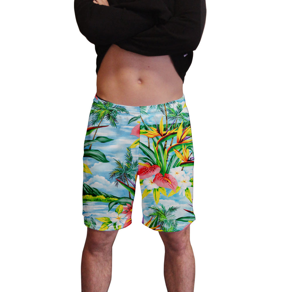 Blue Breeze Hawaiian Print Men's Active Short  Deep Pockets Fitted Activewear Moisture Wicking Polyester Fabric All Over Print Graphic