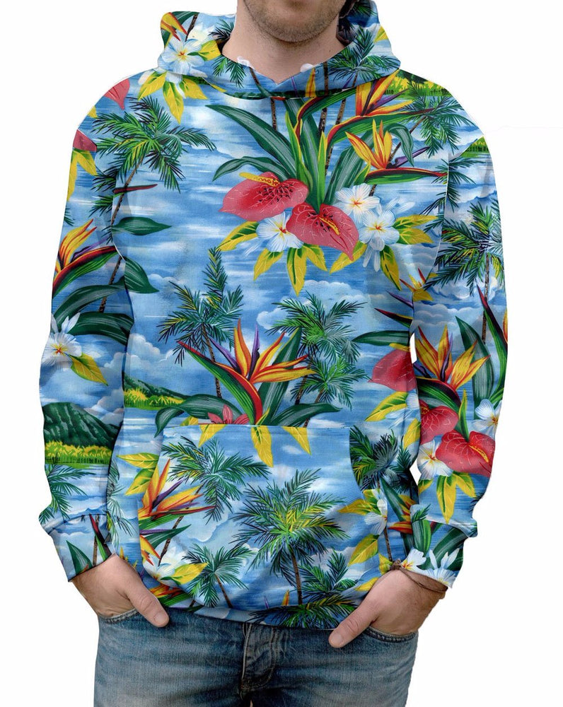 Blue Breeze Hawaiian Print Hooded Sweatshirt