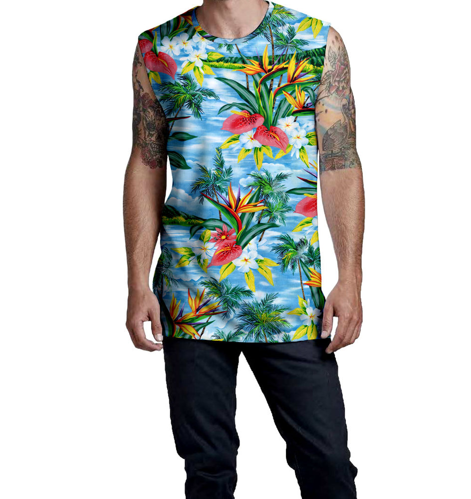 Blue Breeze Hawaiian & Floral Print Pattern on the Nostalgic Prints Sleeveless Muscle T-Shirt  Fitted Sleeveless Muscle Tee Styled to Please Supima Cotton Fabric Pre-Shrunk Fabric Machine Wash and Dry