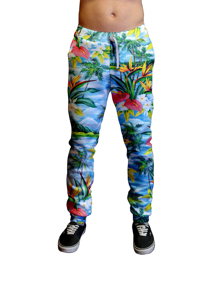 Blue Breeze Hawaiian Print Unisex Jogger.  Moisture Wicking Tapered Leg Pockets Soft Fleece Fabric Sturdy draw cord waistband