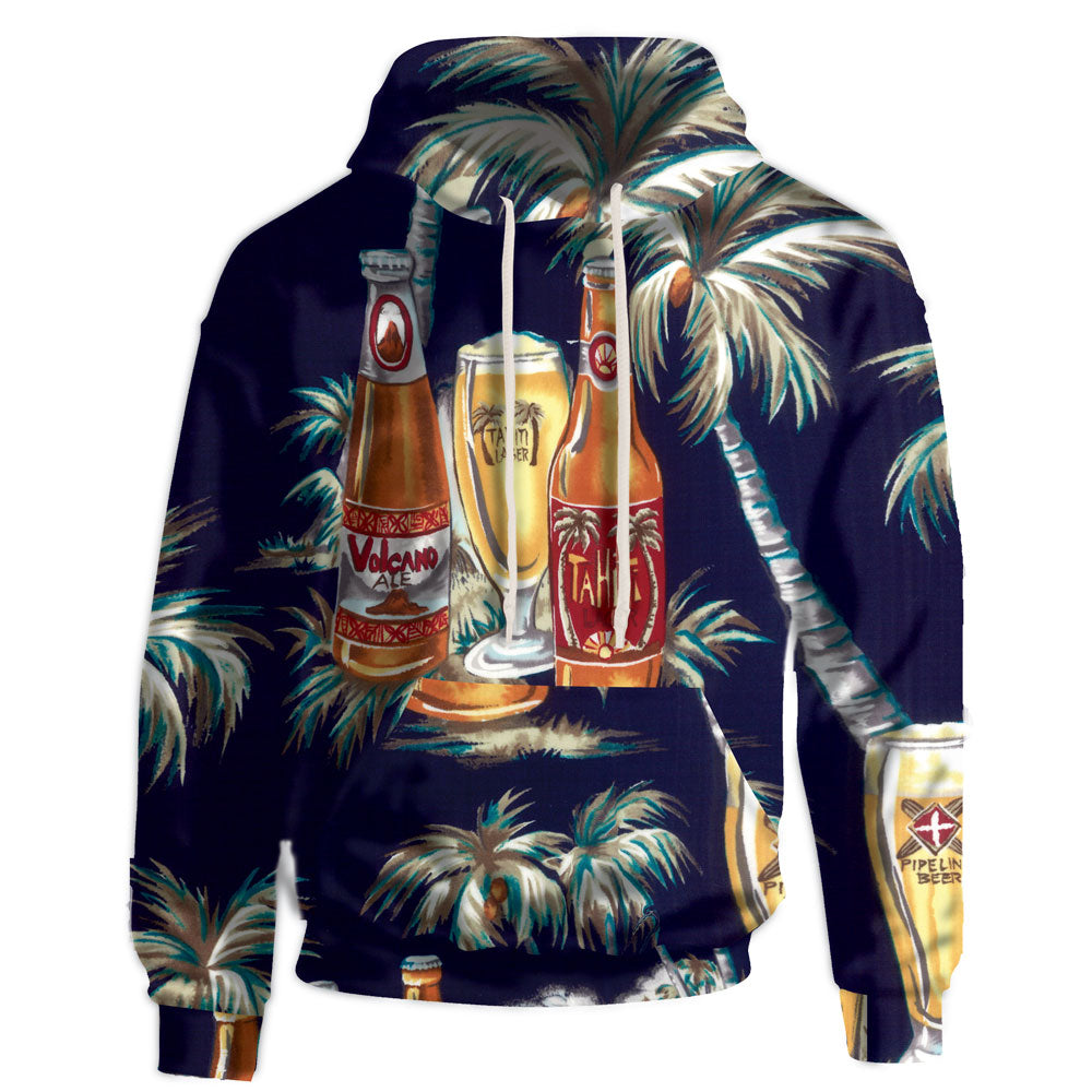 The volcano beer comes to life and becomes known outside of Tahiti, while you wear the beautifully printed navy hooded sweatshirt.